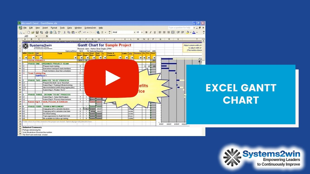 excel gantt chart project plan youtube