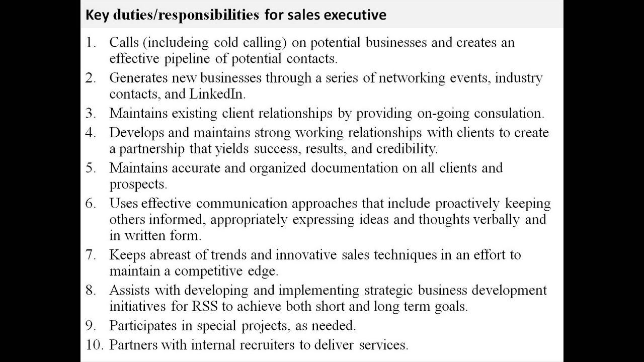 sales executive job description youtube