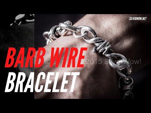 Barbed Wire Bracelet Bangle Silver Barb Design