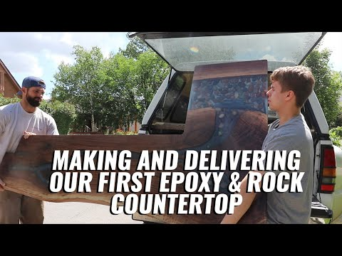Making & Delivering an Epoxy River Rock Countertop
