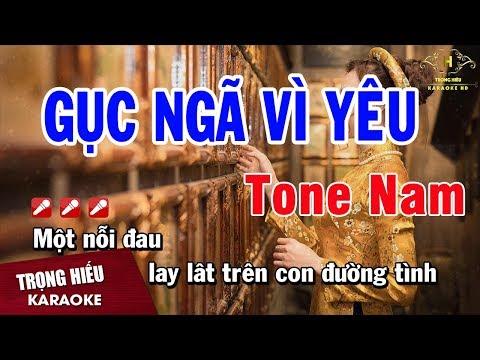 Karaoke Gục Ngã Vì Yêu Tone Nam Nhạc Sống | Trọng Hiếu