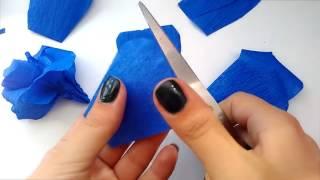 Как сделать розу из гофрированной бумаги(украшение на машину)