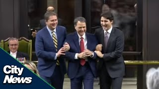 Trudeau, Scheer take part in tradition of dragging newly-elected Speaker to chair