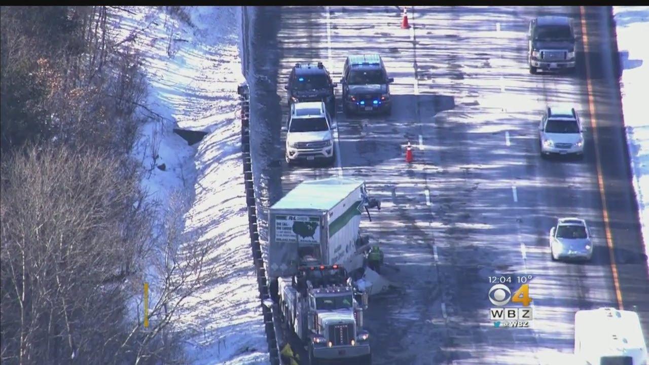Tractor-Trailers Crash Snarls Mass Pike Traffic In Charlton