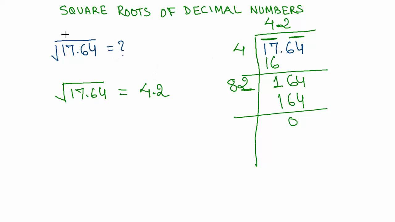 16 Finding Square Roots Of Decimal Numbers