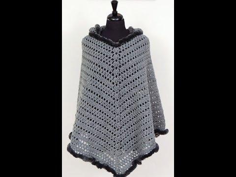 Crochet: Poncho con Capucha. El Gorro - YouTube