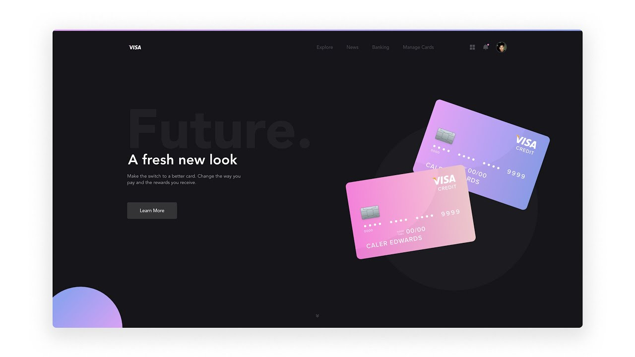 Web Design Tutorial With Adobe Xd Credit Card Landing Page Youtube