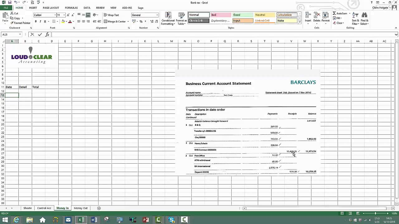 how to do a bank reconciliation on excel youtube