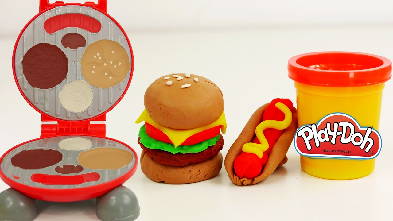 play doh food hamburger cooking burger barbecue playset youtube. Black Bedroom Furniture Sets. Home Design Ideas