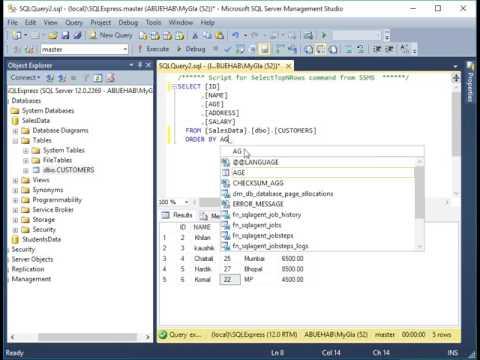 شرح بالعربي(SQL Server 2014  Tutorial -  How to Select rows using ORDER BY ASC , DESC)