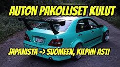Auton pakolliset kulut Japanista Suomeen, kilpiin asti - Toyota Brevis