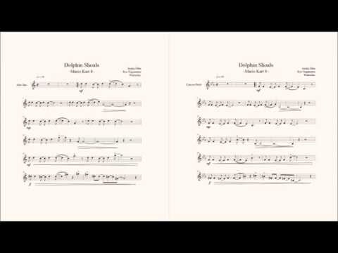 Mario Kart 8 - Dolphin Shoals Alto Sax Sheet Music (With Concert Pitch)