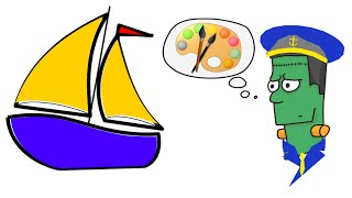 How to draw a cartoon Sail Boat : Step by Step