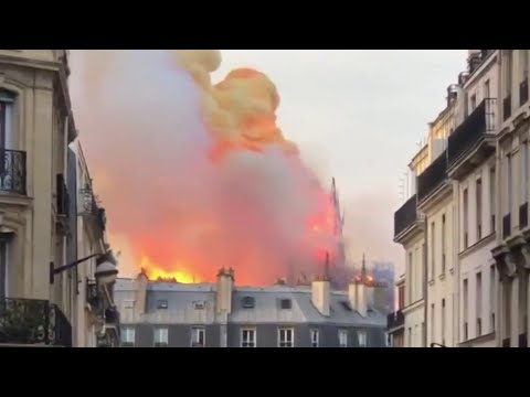 Fire Fire burns at famous Notre Dame Cathedral in Paris