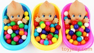 Learn Colors Bubble Gum Baby Doll Bath Time Kinder Surprise Eggs Baby Finger Song Nursery Rhymes