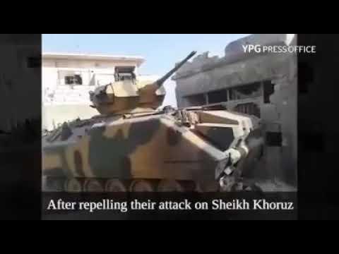 AFRİN ŞEYH HOROZ KÖYÜNDE YPG TARAFINDAN ELE GEÇİRİLEN TÜRK ORDUSUNA AİT ZIRHLI PERSONEL TAŞIYICI...