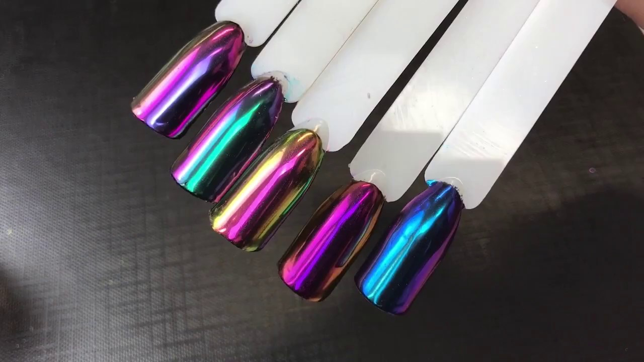 nails mirror chrome metallic effect