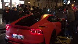 Aubameyang mobbed by Arsenal fans as he drives out in Ferrari after scoring debut goal