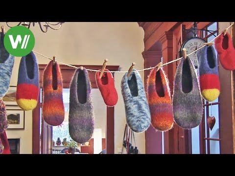 Youtube-Tutorial: Pantoffel selber stricken, färben und filzen - mit Strickanleitung !