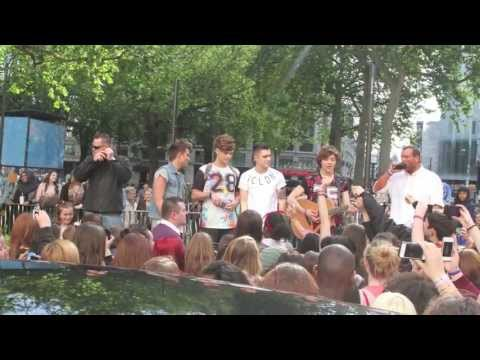 X Factor boy band Union J busking in central London