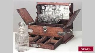 Antique English Victorian oak tantalus case with 3 cut