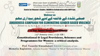 Constitutional & Legal Provisions, Schemes, and Programmes for Women || a critical analysis || MANUU