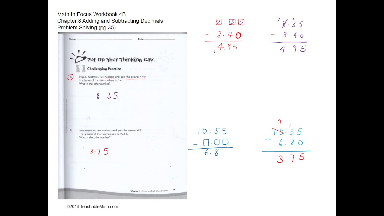 MIF Workbook 4B Solutions Chapter 8 Adding and Subtracting ...