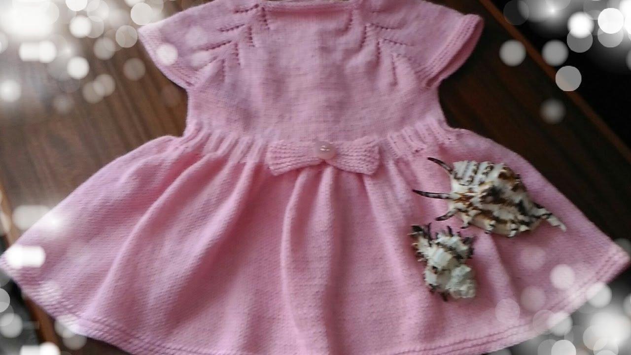 вязание на спицах детское платье Youtube