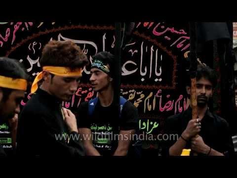 "Muslim devotees holding the ""Taboot of Hussein""- Muharram"