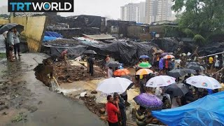 India Flooding Monsoon rain causes wall collapse in Mumbai