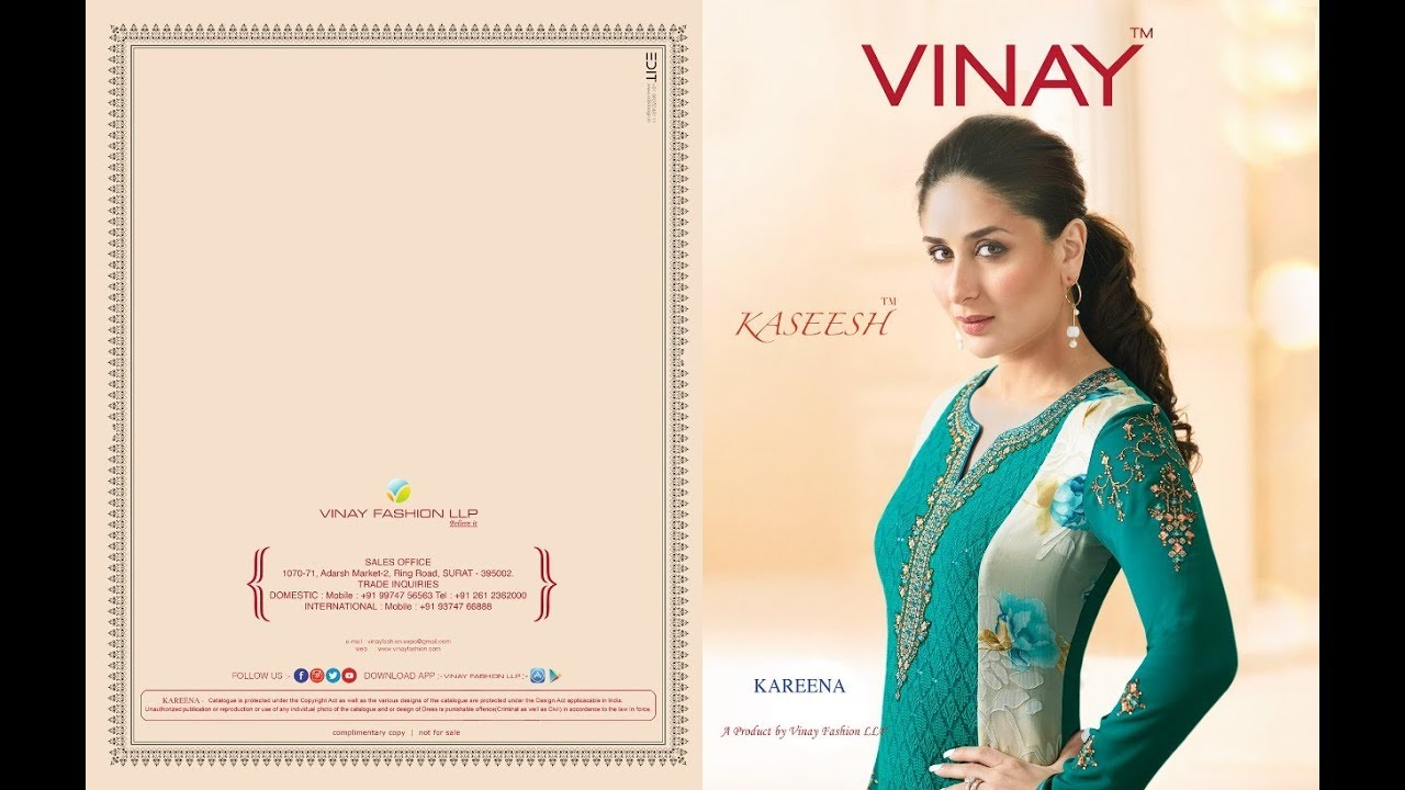 d82d464cea Latest Indian Dresses Collections 2017 || Vinay Fashion || Kaseesh-Kareena-Ready  to Ship