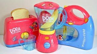 Toy Kitchen Playset for Children - Dora Mixer, Blender & Toaster Play Kitchen Accessories
