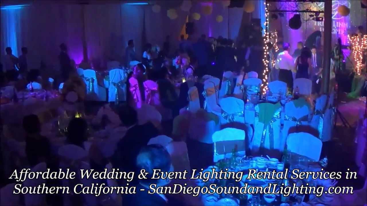 Wedding Lighting Decor: LED Up Lights, Gobo Monogram, Cake Light, Stage Lighting Rental San Diego