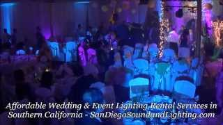 Wedding Lighting Decor: LED Up Lights, Gobo Monogram, Cake Light, Stage Lighting Rental San Diego