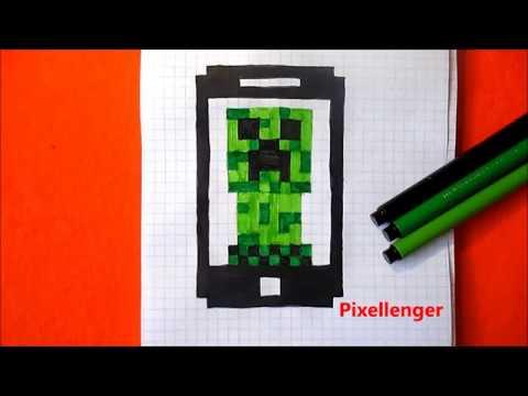 Крипер в Смартфоне Как нарисовать по клеточкам в тетради Пиксель Арт