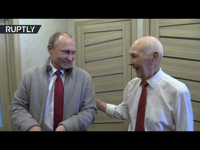 Putin visits his former KGB boss on his 90th birthday