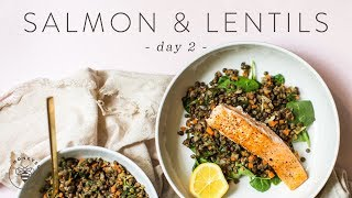 Easy & Healthy SALMON & LENTILS Dinner to LOSE WEIGHT 🐝 DAY 2
