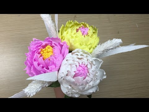 How To Make Peony Paper Flower From Crepe Paper - Craft Tutorial