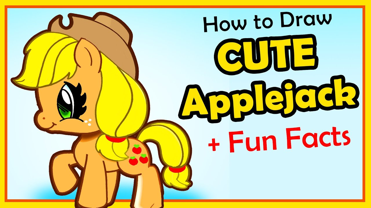 Cute My Little Pony Applejack Drawing For Kids Easy Cartoon
