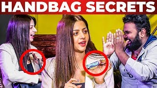 Vedhika's Addiction - Handbag Secrets Revealed by VJ Ashiq | What's Inside the HANDBAG