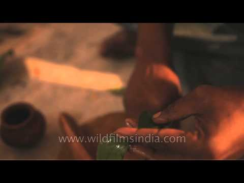 Applying sandalwood paste on bael leaves - ritual at Maha Shivratri