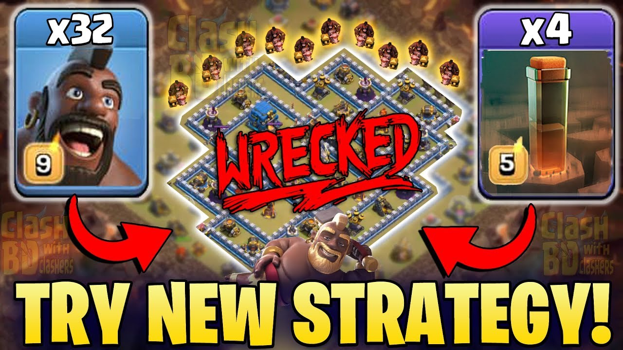 New Level Earthquake Spell Strategy 2019! Try New TH12 War 3star Attack |  Clash Of Clans