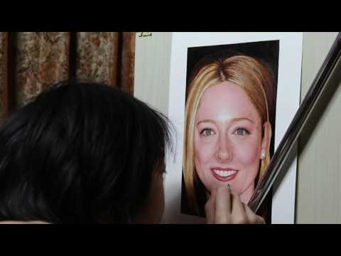 Painting of Judy Greer (work in process 48)