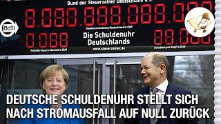 Große Freude nach Stromausfall – Deutsche Schuldenuhr stellt sich auf Null zurück