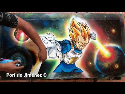 Vegeta spray paint art