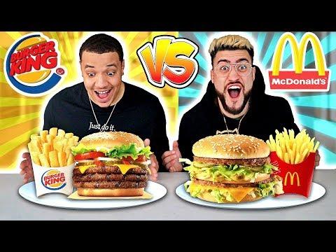 MCDONALDS VS. BURGER KING FOOD CHALLENGE !! (Most Popular Items On The Menu  🍔🍟)