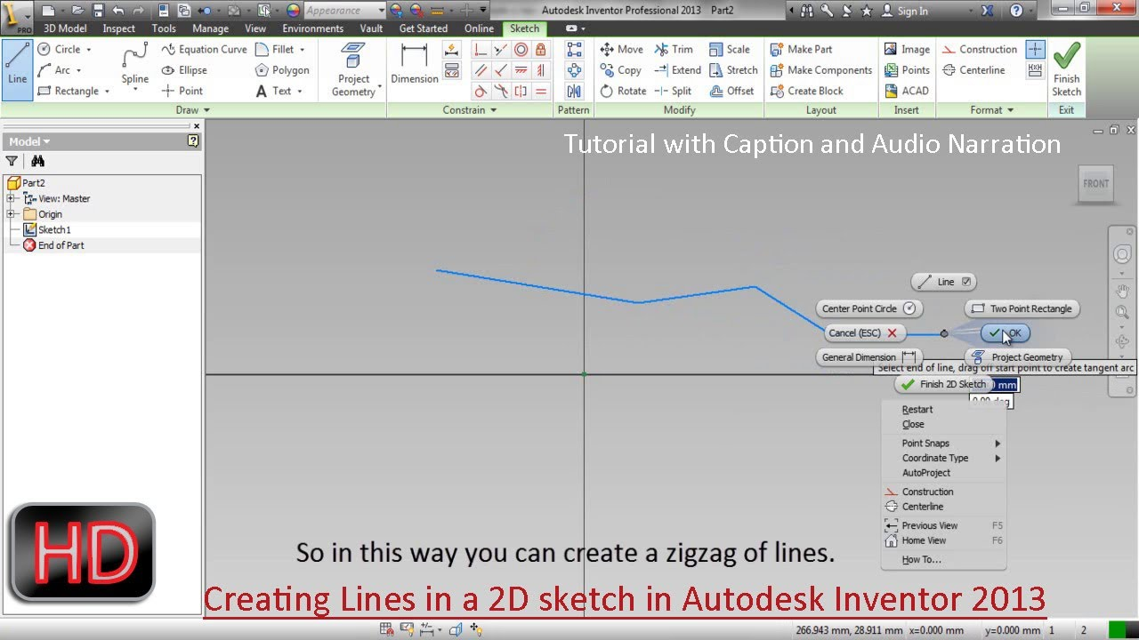 Creating Lines in a 2D sketch ( Autodesk Inventor) - YouTube