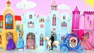Disney Princess Cinderella Castle & Horse Carriage قلعة باربي istana putri Cendrillon Castelo