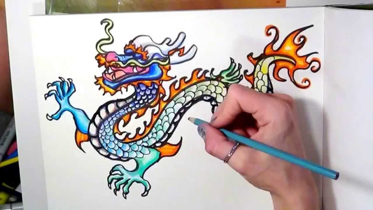 chinese dragon drawing time lapse youtube