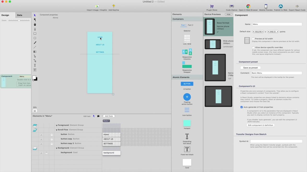 Creating sidebar / hamburger menu in React Studio